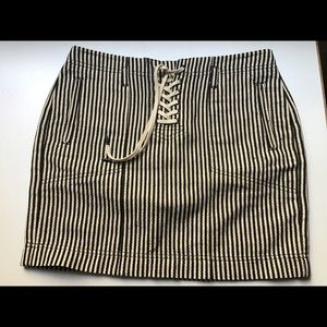 Madewell Striped Lace-Up Skirt
